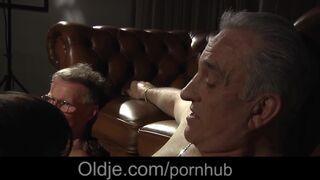 Boy's Night for two Grandpas that get Young Escorts Riding them on Top