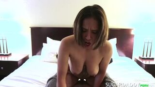 MONSTER TITTY Teen Fucks her Sugar Daddy for a new Purse.